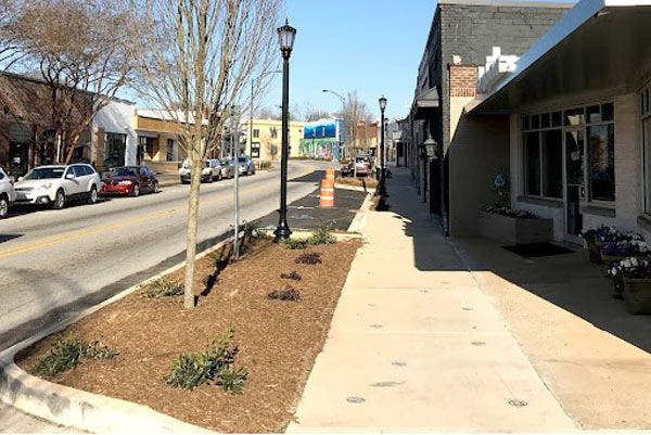View of Village of West Greenville completed streetscape work