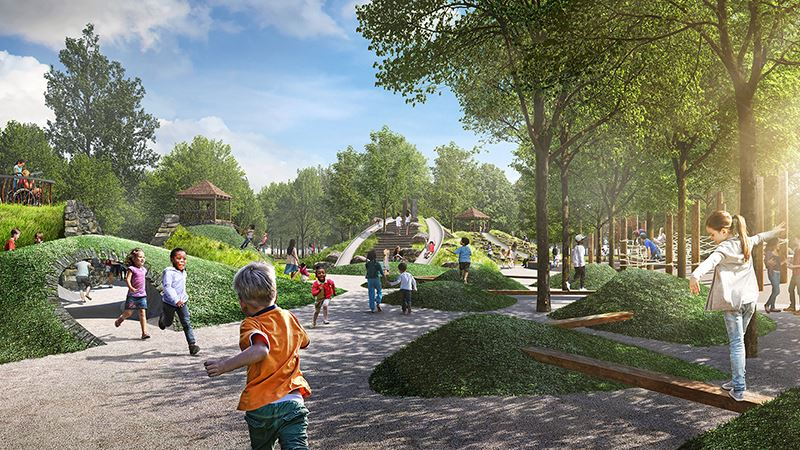 rendering of Unity Park destination playground