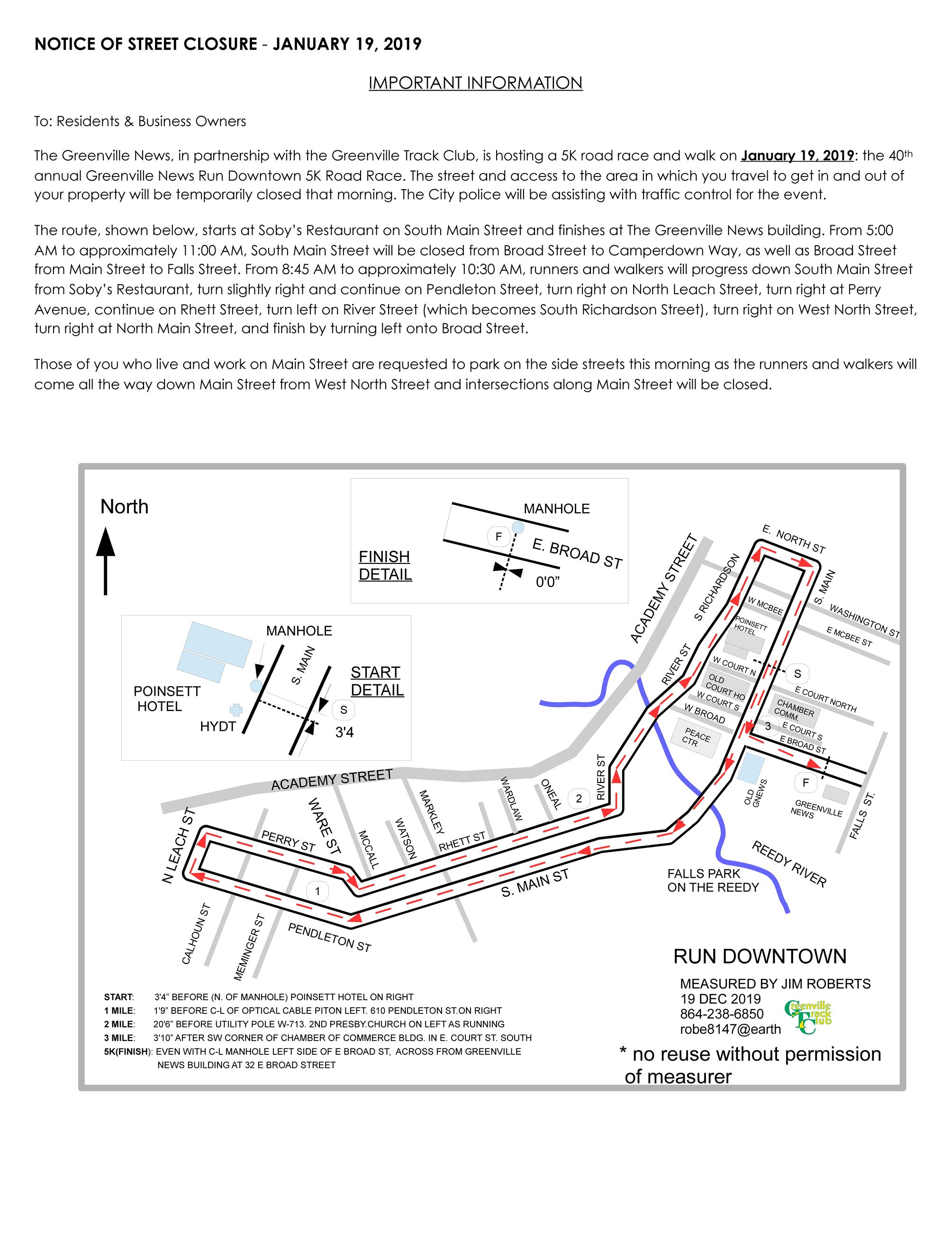 NOTICE OF STREET CLOSURE 2019 - Greenville News Run_Page_1