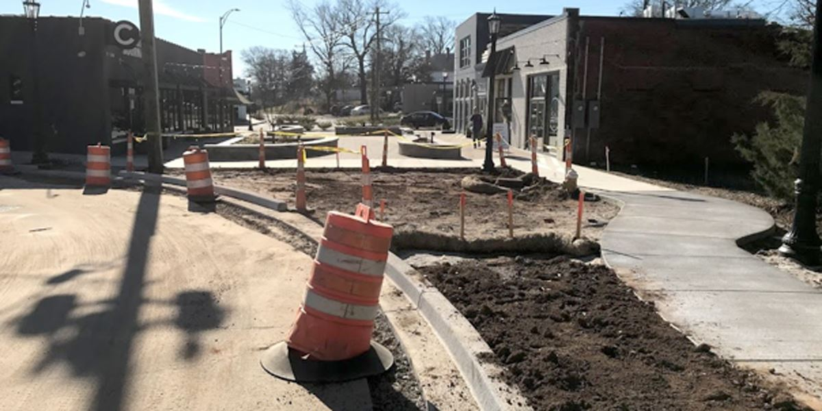 Photo showing concrete poured at the Village of West Greenville plaza