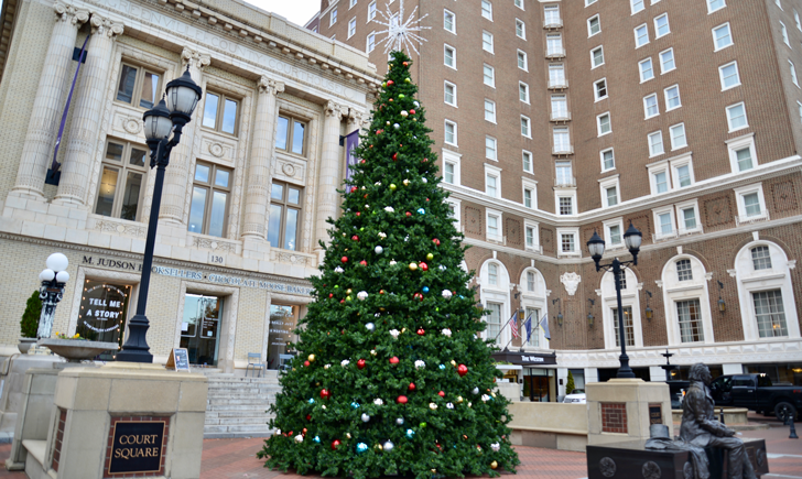 City Christmas tree, in front of Poinsett Hotel