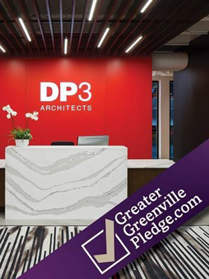 DP3 logo on a display both showing the Greater Greenville Pledge banner