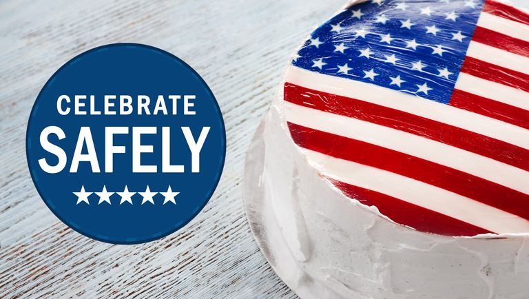 birthday cake with flag design and words Celebrate Safely