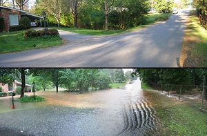 Before and after photo of a street flooded with storm water