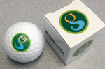 Golf ball with the Greenville logo on it
